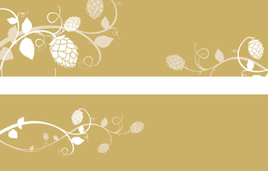 Stylized hop flowers composition, gold banner set