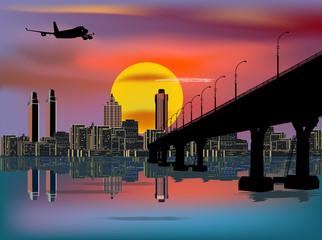 plane above modern city and bridge