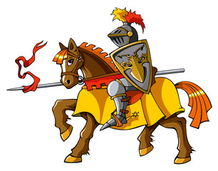 Foto op Canvas Ridders Medieval knight on horseback, vector