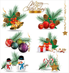 Set of Christmas and New Year's decoration elements