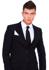 Beautiful and handsome man in a suit