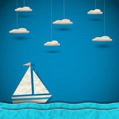 Sailing boat and clouds.Paper-art