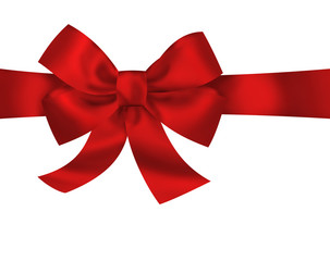 Red gift ribbon bow isolated on white background. Bright holiday