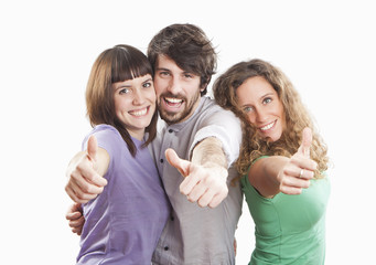 group of three positive happy friends