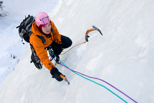 Ice climbing woman