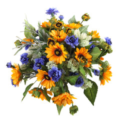 bouquet of artificial sunflower-geliantus, cornflower, gomfrena