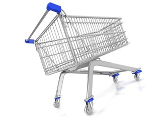 3D trolley basket isolated