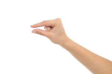 Woman hand in little gesture
