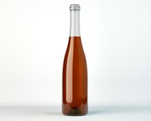 Uncorked bottle of white wine on white