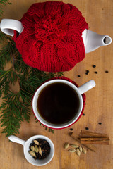 Hot winter tea with spices
