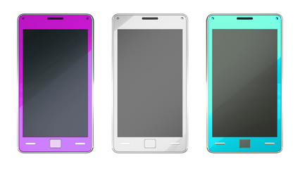 Smart phones in purple grey and turquoise colours isolated