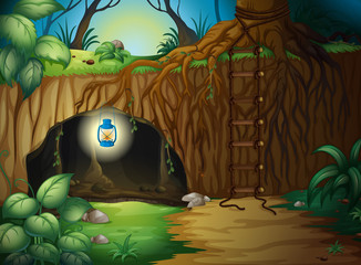Poster de jardin Fantastique Paysage A cave in the jungle