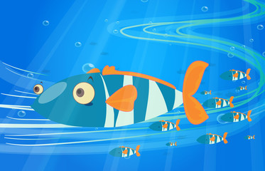 Poster Submarine School of fish in the sea