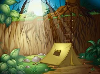In de dag Fantasie Landschap Camping in the jungle