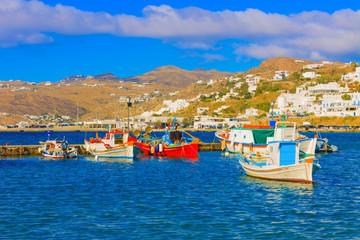 Beautiful wooden fishing boats  Mykonos island old port Greece C