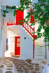 Red wooden frames at walkpath Mykonos Island Greece Cyclades