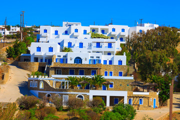 Traditional blue frames view in Mykonos island Greece Cyclades