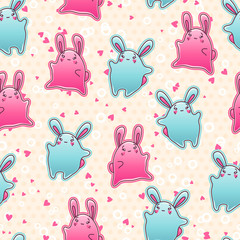 Wall Mural - Seamless kawaii child pattern with cute doodles.