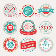 Wall Mural - Christmas set - labels and emblems. Vector illustration.