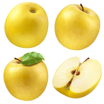 Yellow apple. collection. set of fruits and leaf isolated on whi