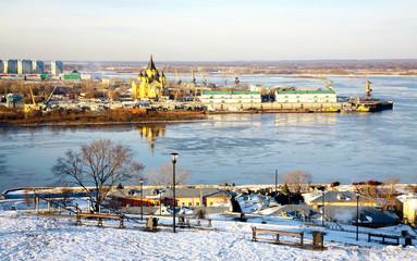 First ice on the river Oka and Cathedral Nevsky Nizhny Novgorod