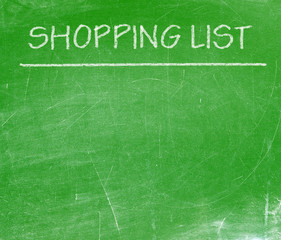 Shopping list written with white chalk on a blackboard