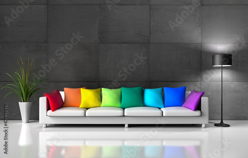 xxl sofa mit bunten kissen stockfotos und lizenzfreie. Black Bedroom Furniture Sets. Home Design Ideas