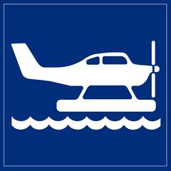 Wall Mural - Schild blau - Wasserflugzeug