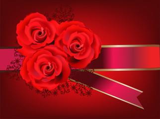 three bright red roses decoration