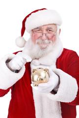Santa pointing piggy bank