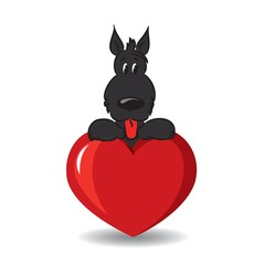 A funny dog sitting on the red heart -vector