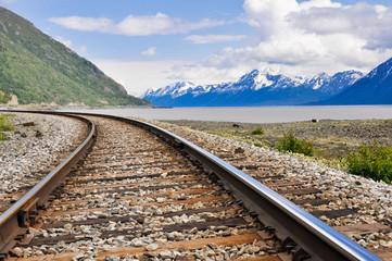 Railroad tracks running through Alaskan landscape Wall mural