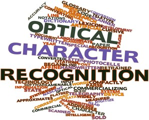 Word cloud for Optical character recognition
