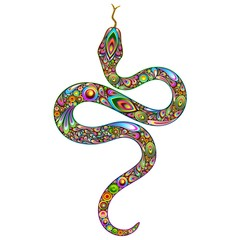Photo on textile frame Draw Snake Psychedelic Art Design-Serpente Psichedelico Arte Grafica