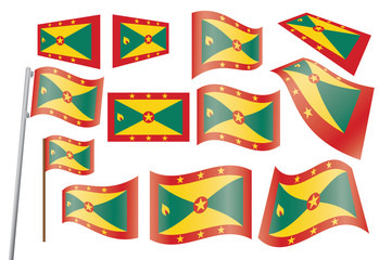 set of flags of Grenada vector illustration