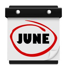 June Word Wall Calendar Change Month Schedule
