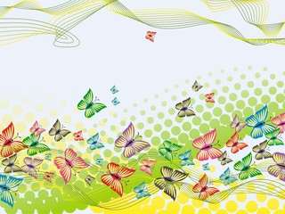 Colorful background with butterfly, crossed lines and halftone
