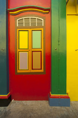 Colorful wall of a colonial house in Little India, Singapore