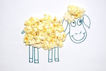 Figure sheep and popcorn.