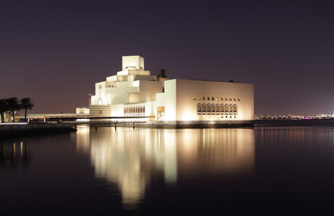 Museum of Islamic Art in Doha at night. Qatar, Middle East