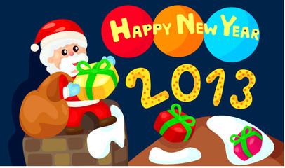 happy new year with santa