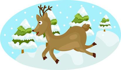 cute deer running on snow