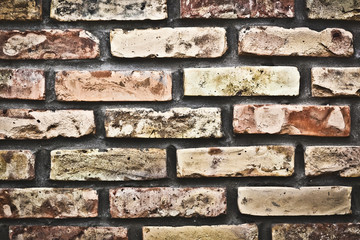 Weathered, stained, old brick wall background, texture