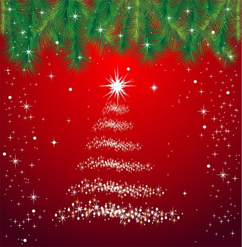 Snow Christmas background, fir-tree.