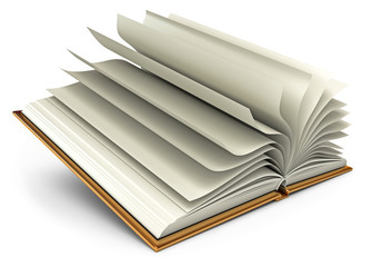 Open white book. Isolated on white background. 3d render