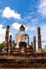 Ancient Budddha statue in Sukhothai from back