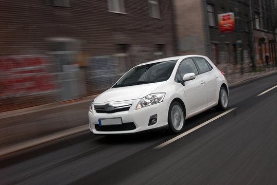 Hybrid car is in motion