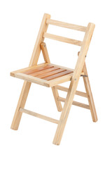 Small folding wooden chair on white background