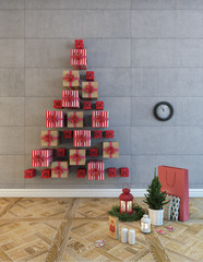 Christmas Boxes Tree On A Grey Wall