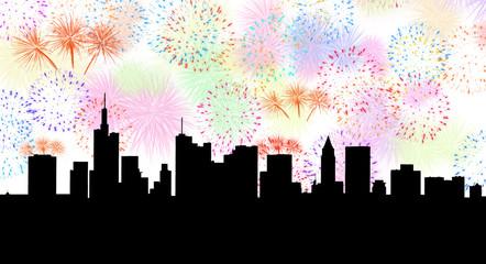 Skyline mit Feuerwerk